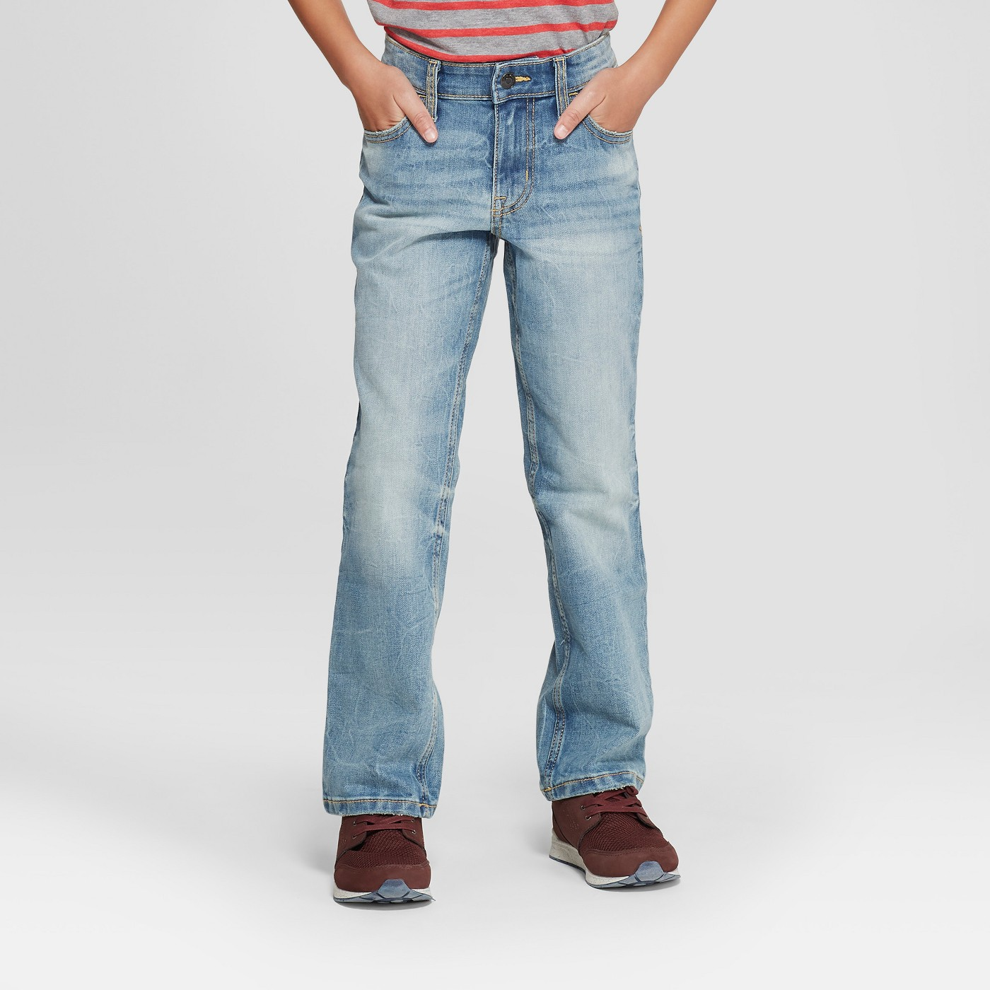 Boys' Light Wash Straight-Leg Jeans - $10