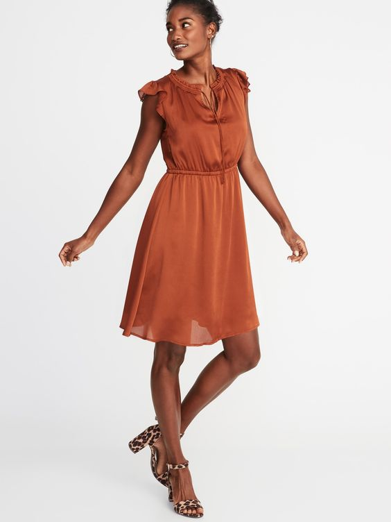 Old Navy: Crinkle Chiffon Ruffle-Sleeve Dress