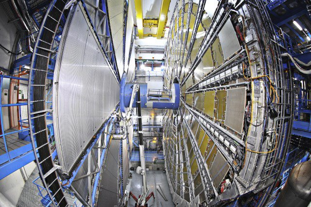 The Atlas cavern is situated 100 metres below the village and hosts the 7000-tonne ATLAS detector, that is probing for fundamental particles. Photo: CERN