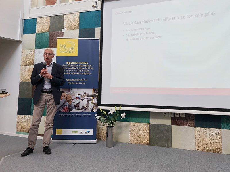 Mikael Vieweg, Scanditronix Magnet om av att leverera till big science, marknaden är internationell, samarbete essentiellt, hårda tekniska krav men kompetensutvecklingen på varje order utvecklar bolaget och skapar nya affärer.