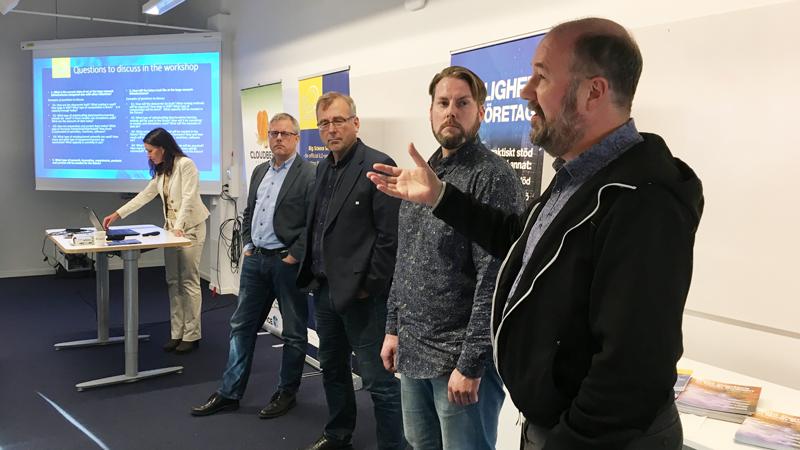 LTU:s ledande forskare inom Big Data: Japp van de Beek inom 5G & Connectivity, Thomas Gustafsson inom Automation & Embedded Systems, Fredrik Sandin inom AI & Machine Learning och Jon Summers inom Datacenter & Liquid cooling.