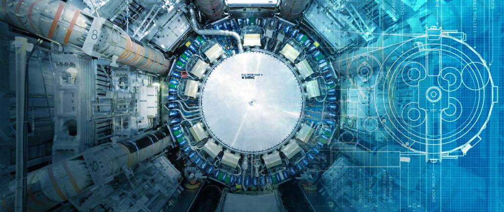 I acceleratorn, som kallas för Large Hadron Collider (LHC) kolliderar partiklarna med varandra vid en hastighet nära ljusets. Kollisionerna ger insikter i naturlagarna på subatomär nivå.