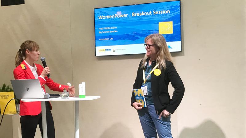 Big Science Sweden var också med i det svensk-tyska programmet Women Power, en breakout session arrangerad av svenska ambassaden i Tyskland. Frida Tibblin Citron, affärsutvecklare på Big Science Sweden berättade om vikten av att lyfta goda exempel, som Barbro Åström, en framstående svensk forskare som var med och hittade Higgs partikel på CERN.