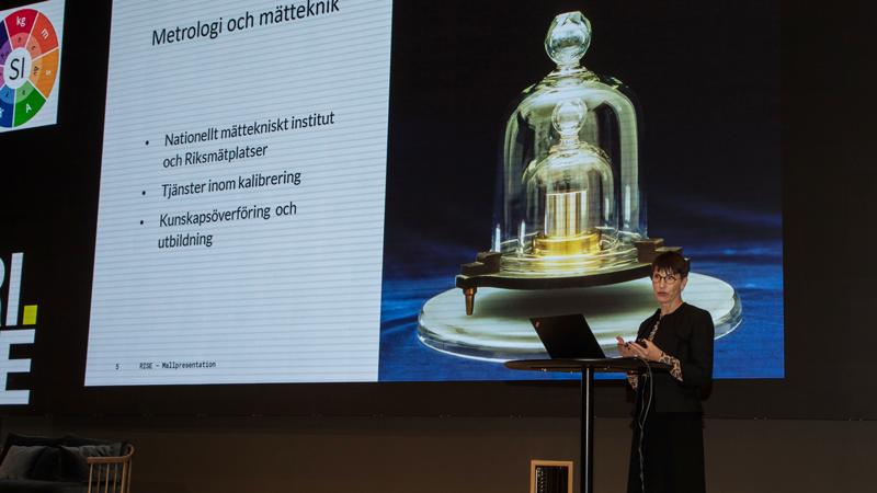 Pia Sandvik, VD för RISE pratade om och metrologi och mätteknik men också om RISE viktiga roll inom området.