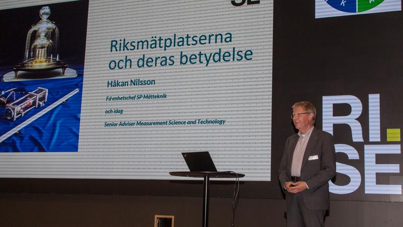 Håkan Nilsson, tidigare enhetschef på SP Mätteknik och numera affärsutvecklare på Big Science Sweden talade om riksmätplatsernas utveckling och stora betydelse.