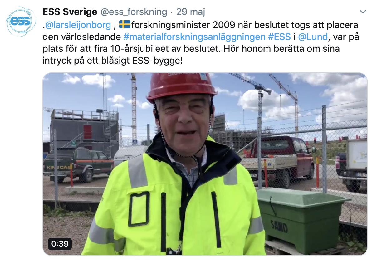 Lars Leijonborg var forskningsminister år 2009 när beslutet togs att placera ESS i Lund. Hör honom  berätta om sina intryck  på ESS Twitterkonto.