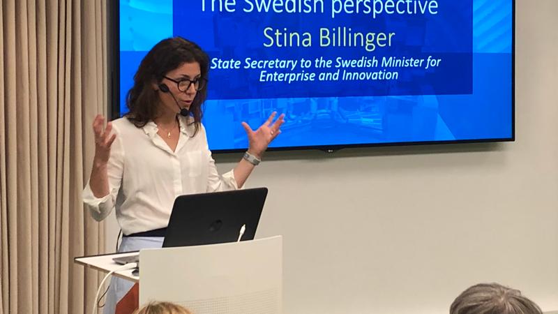 Stina Billinger, statssekreterare på Näringsdepartementet, pratade om betydelsen av ökat internationellt samarbete kring forskning och innovation.