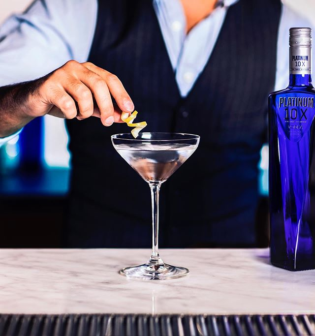 With 10X distilled vodka, everything else is just a bonus. -- Platinum Martini Two parts Platinum 10X, chilled Dash of dry vermouth 1 lemon twist