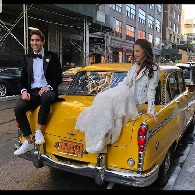 These old taxis, especially in Tribeca, are perfect for photos and to wisk away the Married or (Almost) Married couples.  #vinyldecal #justmarried #oldtaxi #nyc #tribecarooftop #photoshoot #happycouple