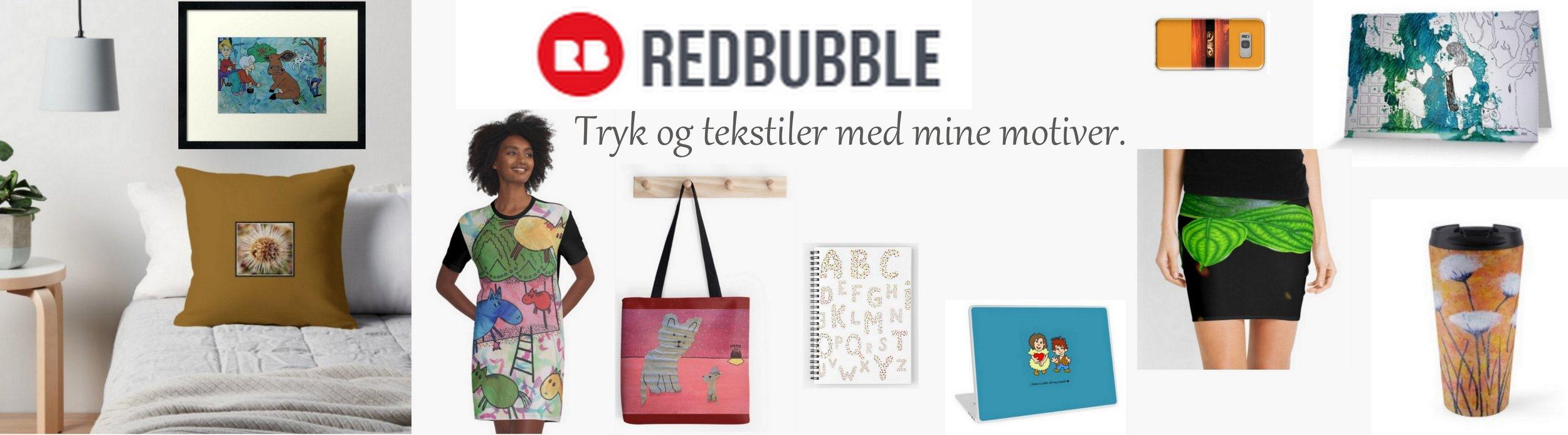Eksempler på produkter fra Redbubble