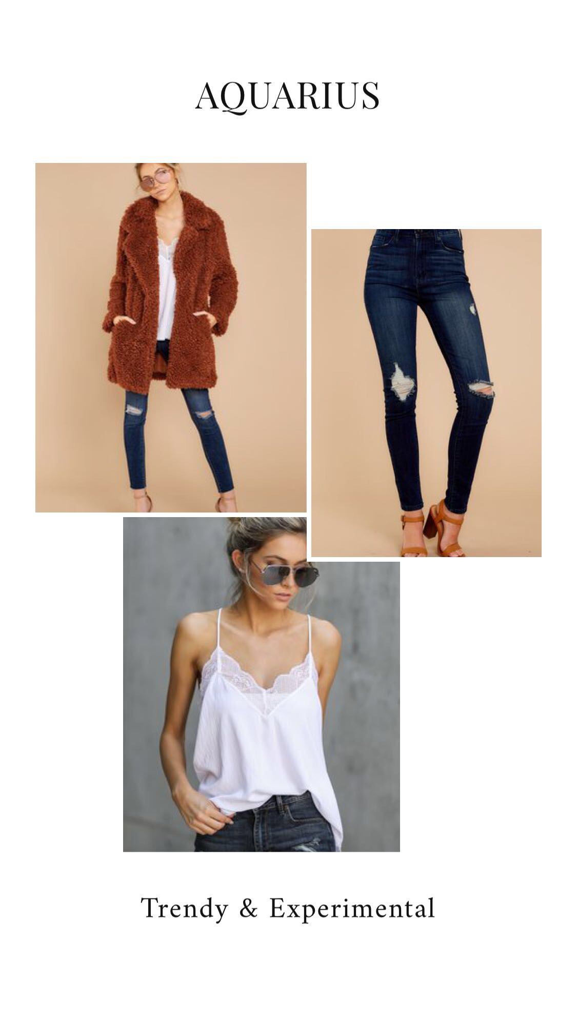 GET THE LOOK - Better Than The Party Rust CoatBring It Here Dark Wash Distressed Skinny JeansWhite Lace Tank Top
