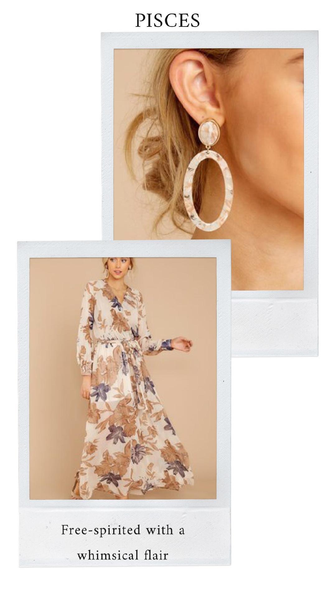 GET THE LOOK - Autumnal Bloom Maxi DressBeige Tortoise Acrylic Earrings
