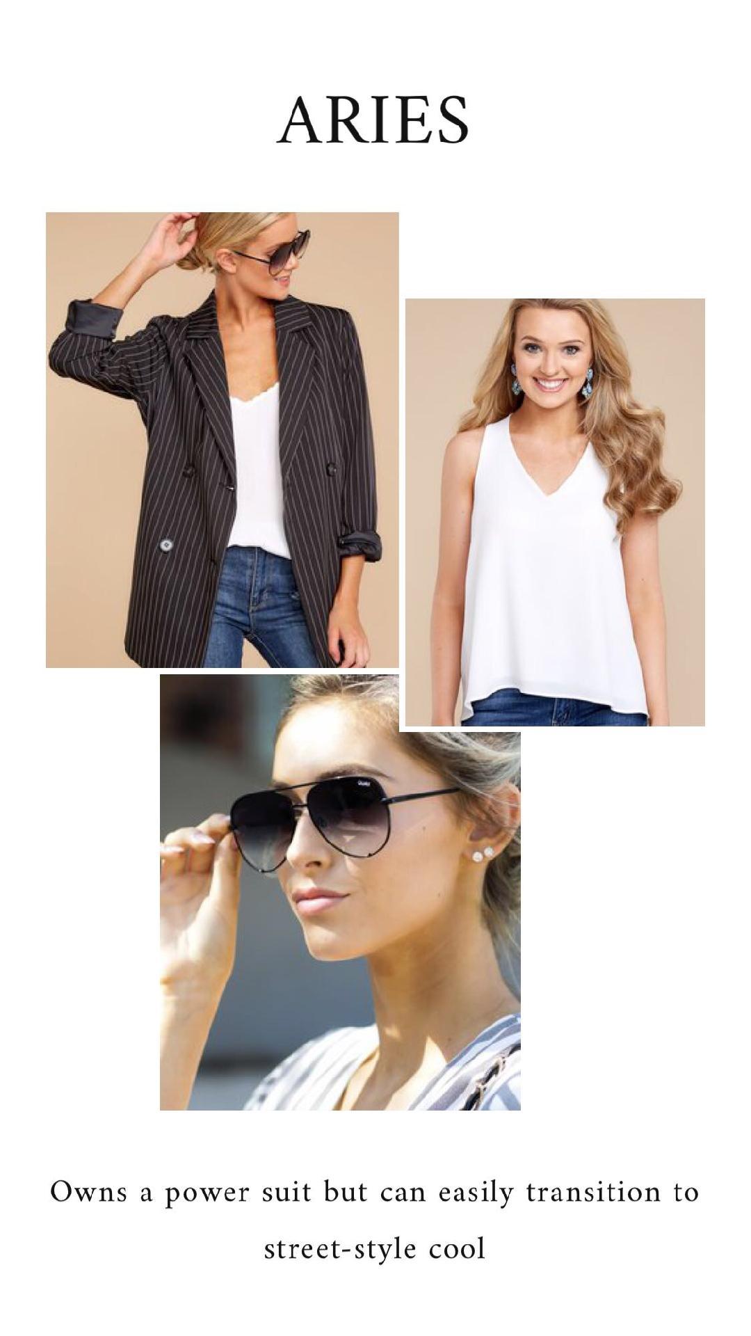 GET THE LOOK - Black Striped BlazerIn No Rush White TopHigh Key Black Fade Sunglasses