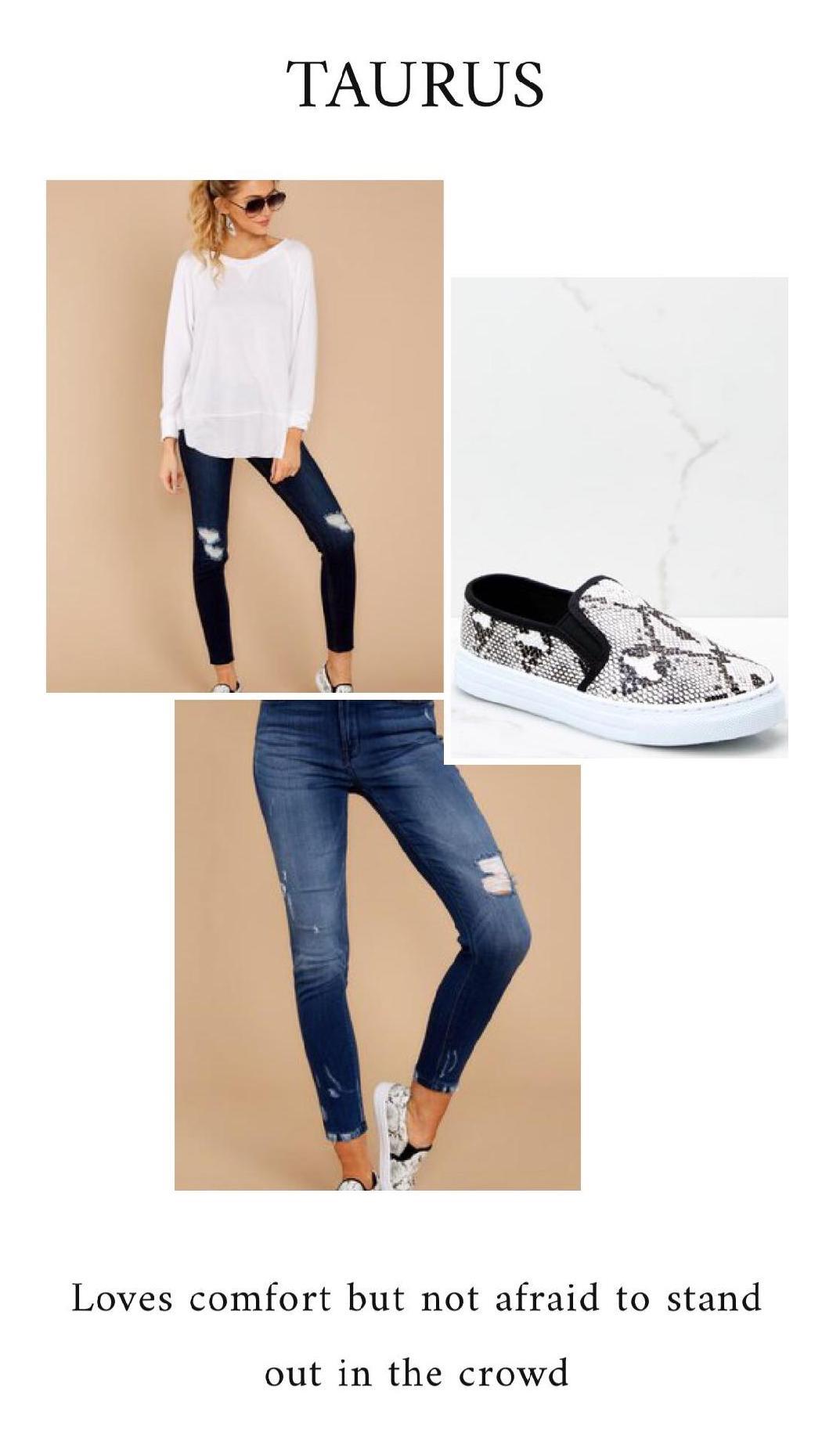 GET THE LOOK - Don't Forget Casual White SweatshirtDark Wash Distressed Skinny JeansSnakeskin Slip On Sneakers