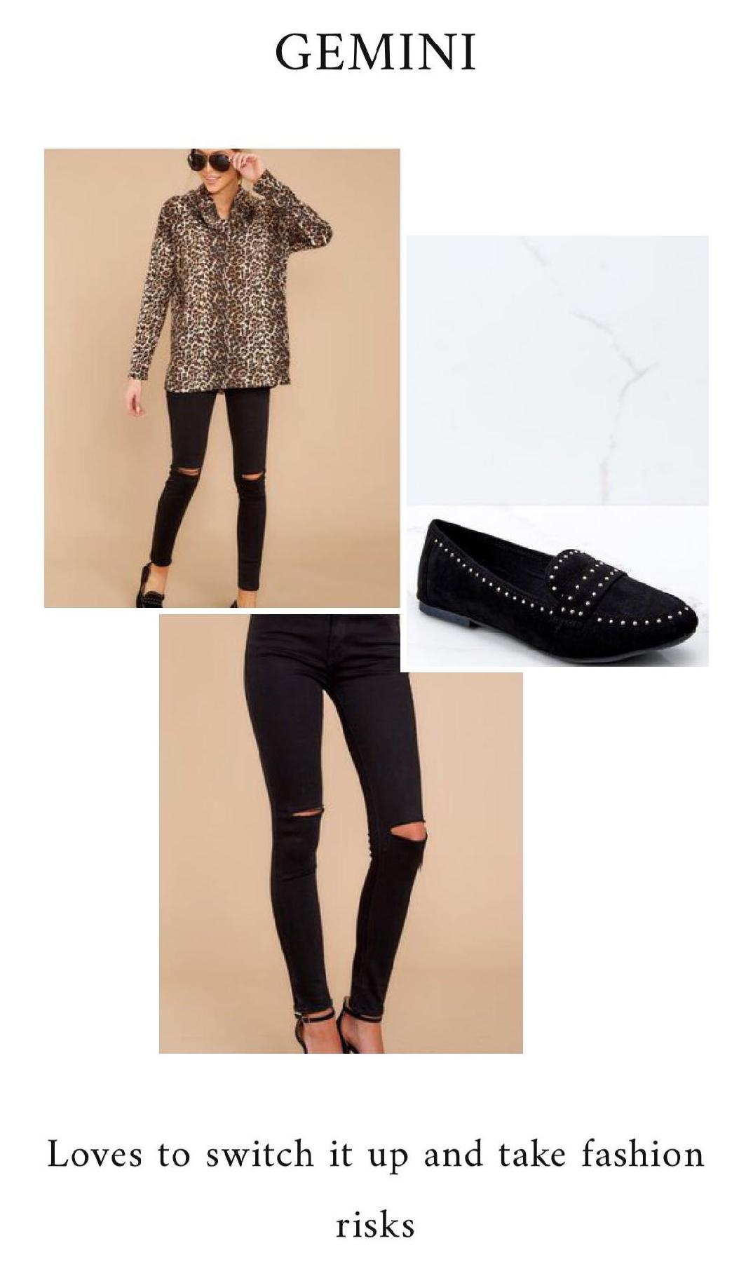 GET THE LOOK - Leopard Print TopBlack Skinny JeansSassy Black Loafers
