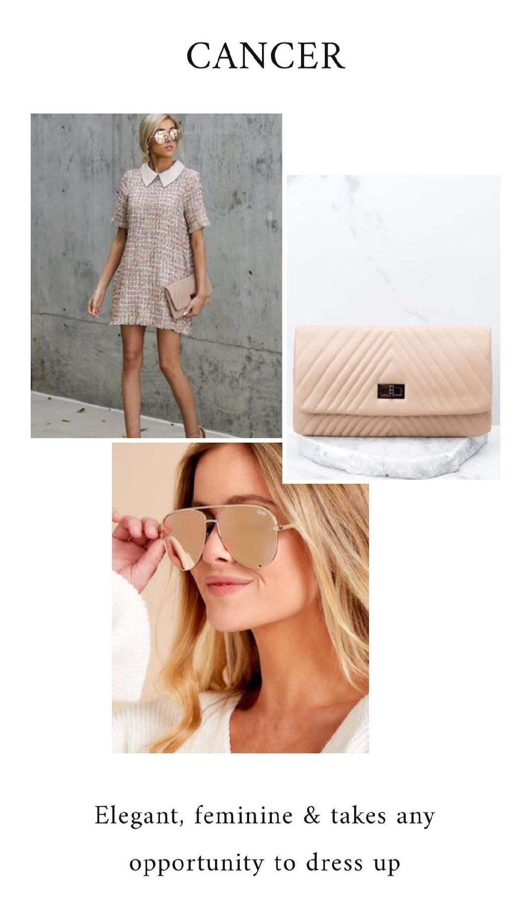 GET THE LOOK - Meet You At The Met Pink Multi DressNude ClutchGold Mirror Sunglasses