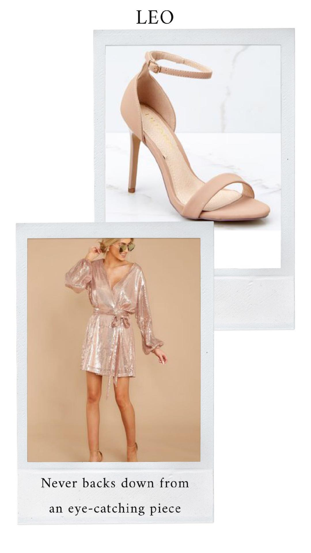 GET THE LOOK - Sequined Prose Rose Gold Wrap DressNude Ankle Strap Heels