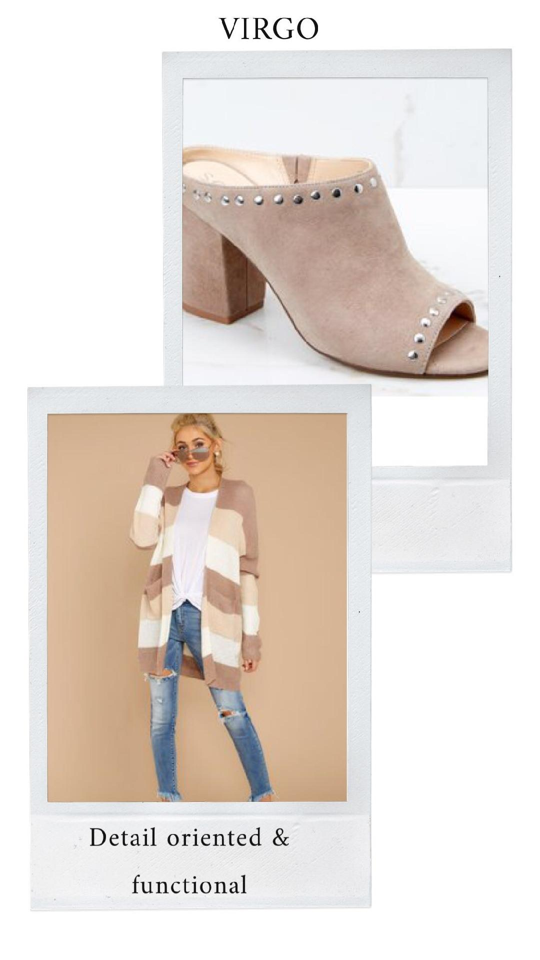 GET THE LOOK - Mocha Stripe CardiganLayce Studded Mules in Fall Taupe