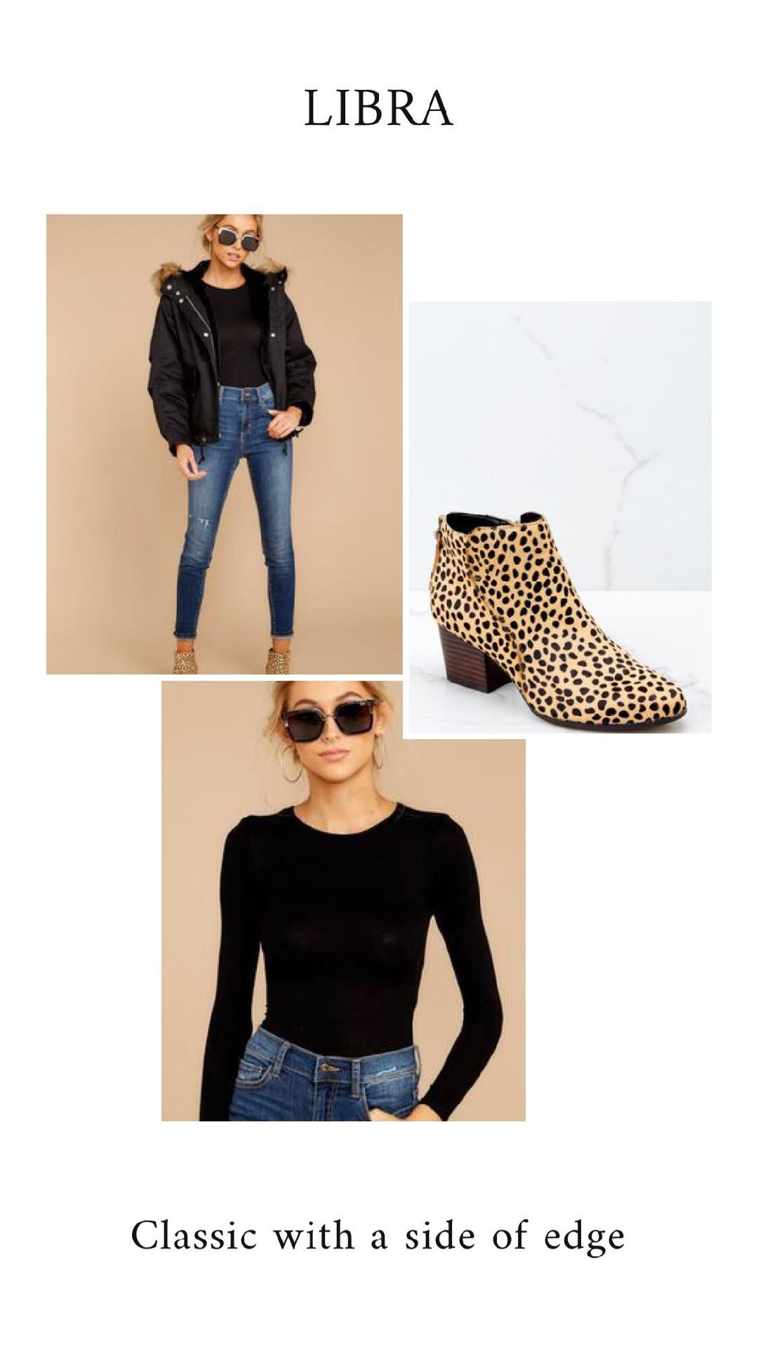 GET THE LOOK - Let's Talk About It Black JacketRiver Cheetah Print Ankle BootsNeed It To Be Black Bodysuit