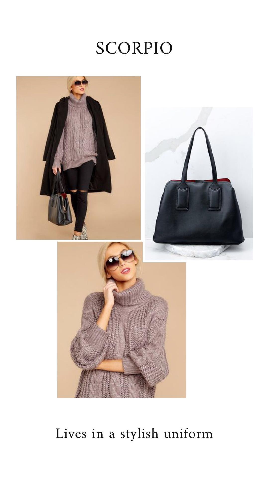 GET THE LOOK - Welcome The Winter Black CoatSan Francisco Bound Ash Grey SweaterTake It As You Go Black Handbag