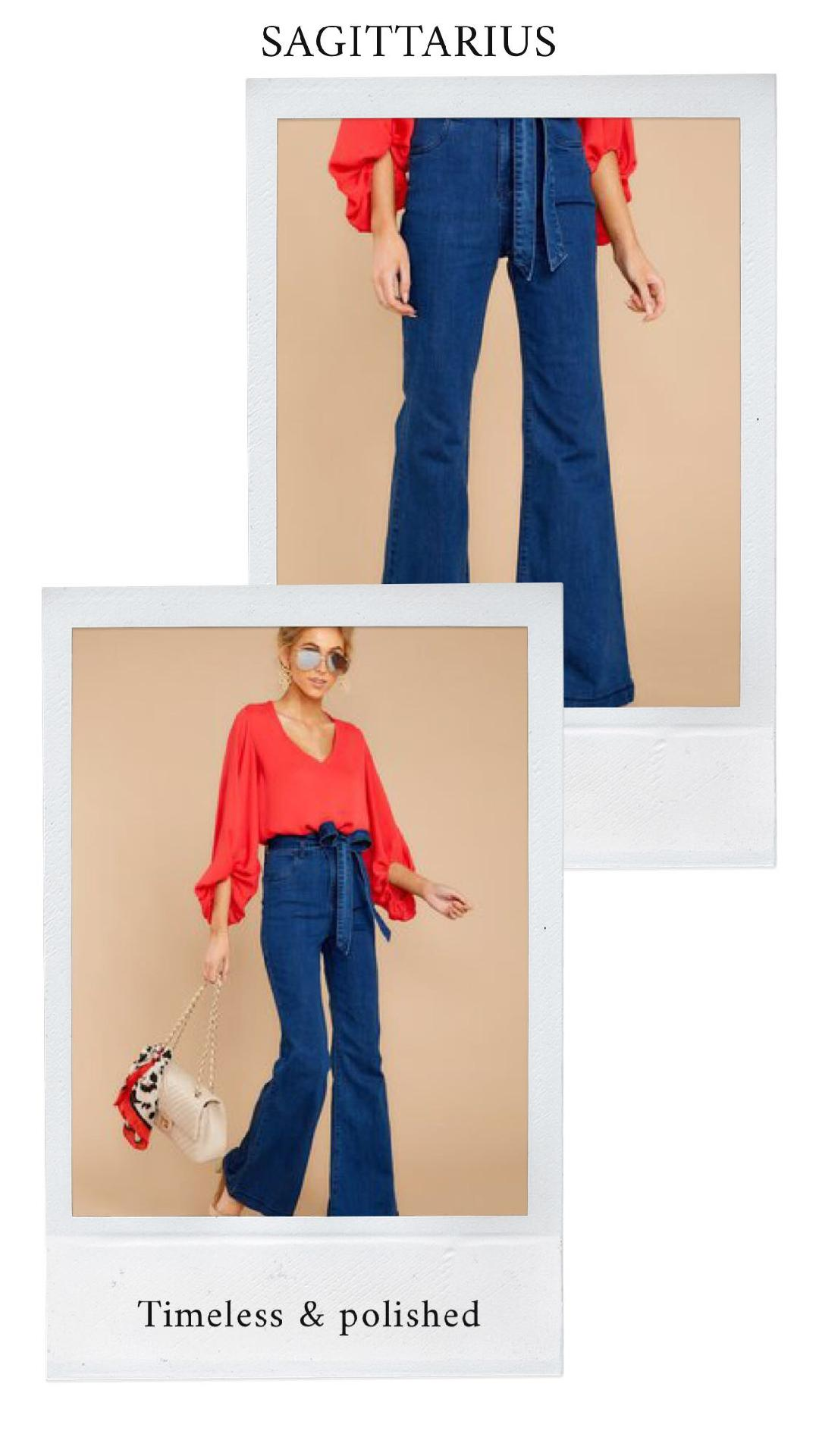 GET THE LOOK - Just Promoted Red TopDon't Forget Me Dark Wash Flare Jeans
