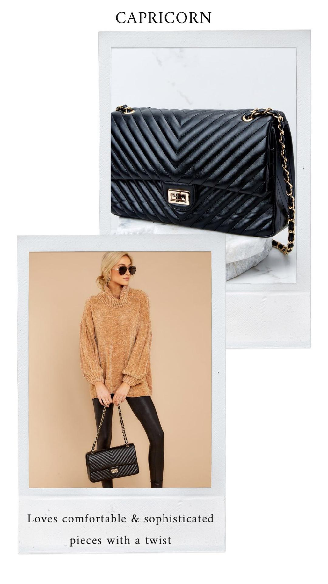 GET THE LOOK - Embrace It All Tan SweaterPolished and Poised Black Bag