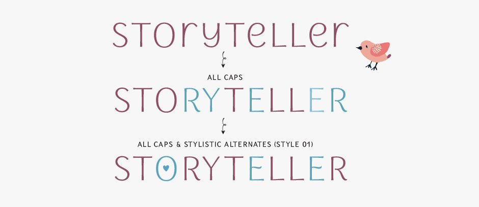 Storyteller Sans Serif fonts main features include stylistic alternates and catchwords (ʻever',ʻonly',ʻand',ʻfor',ʻthere',ʻto')