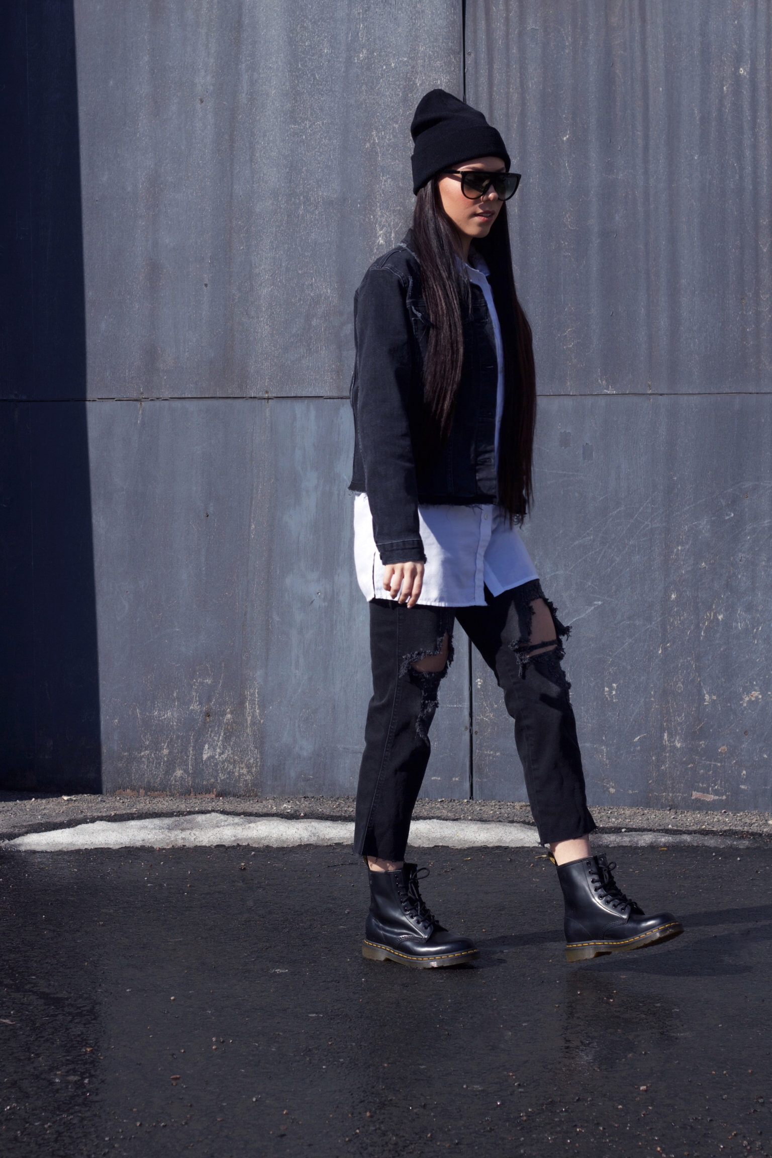 Céline Sunglasses - with Dr. Martens boots, ripped jeans and a denim jacket