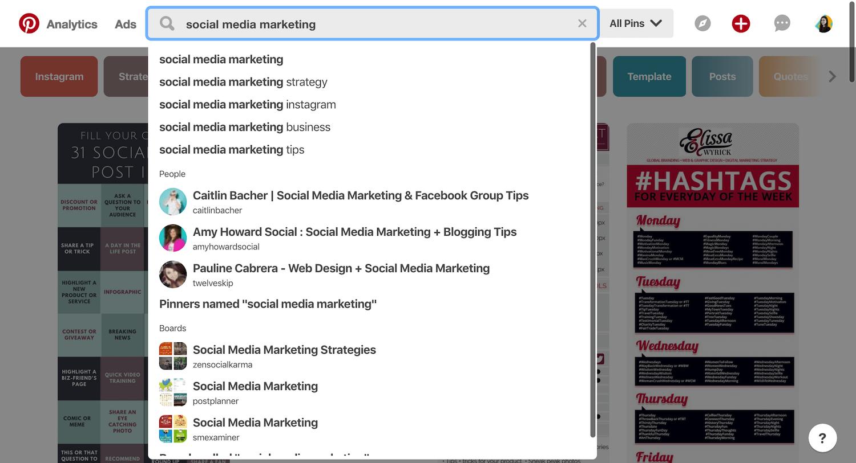 Pinterest Keywords Search