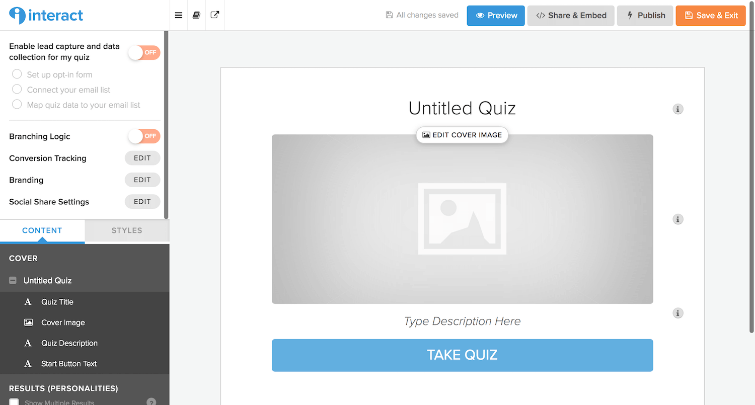 Interact Quiz Dashboard