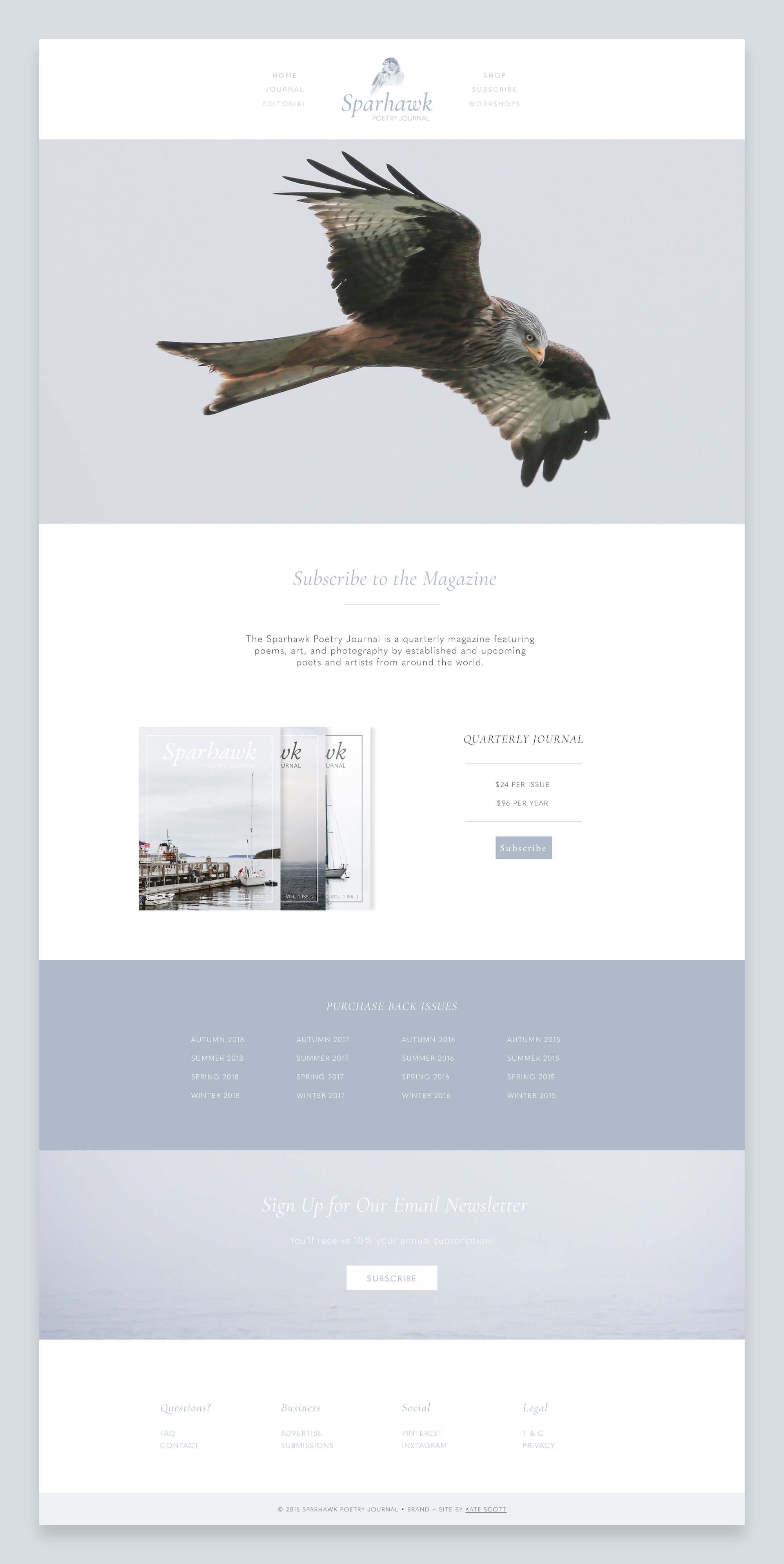Sparhawk Subscribe Page Custom Squarespace Design