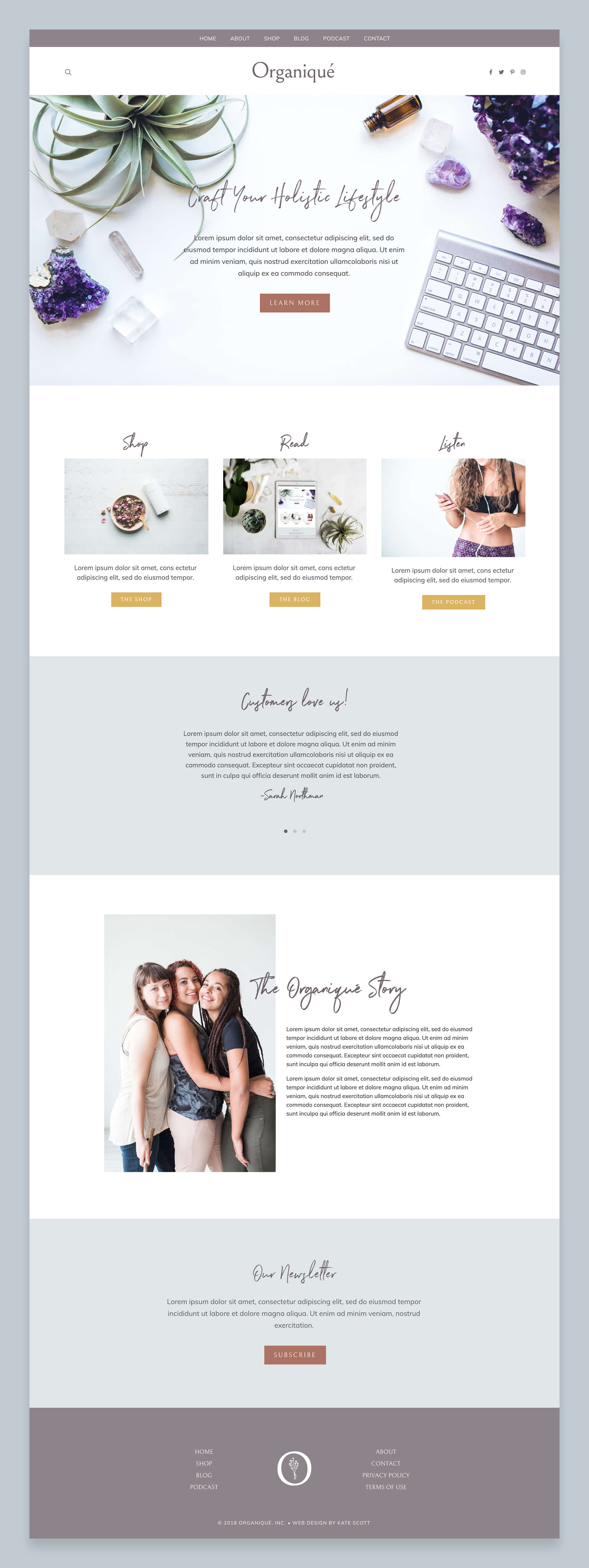 Organiqué Custom Squarespace Website Design