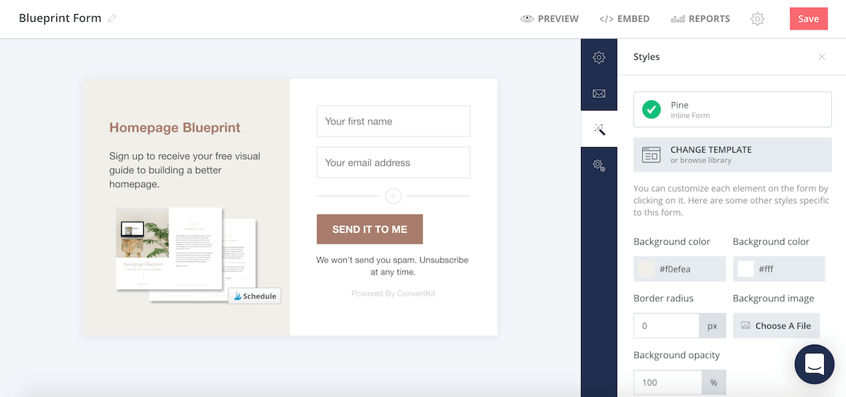 ConvertKit Form Style Settings Editor