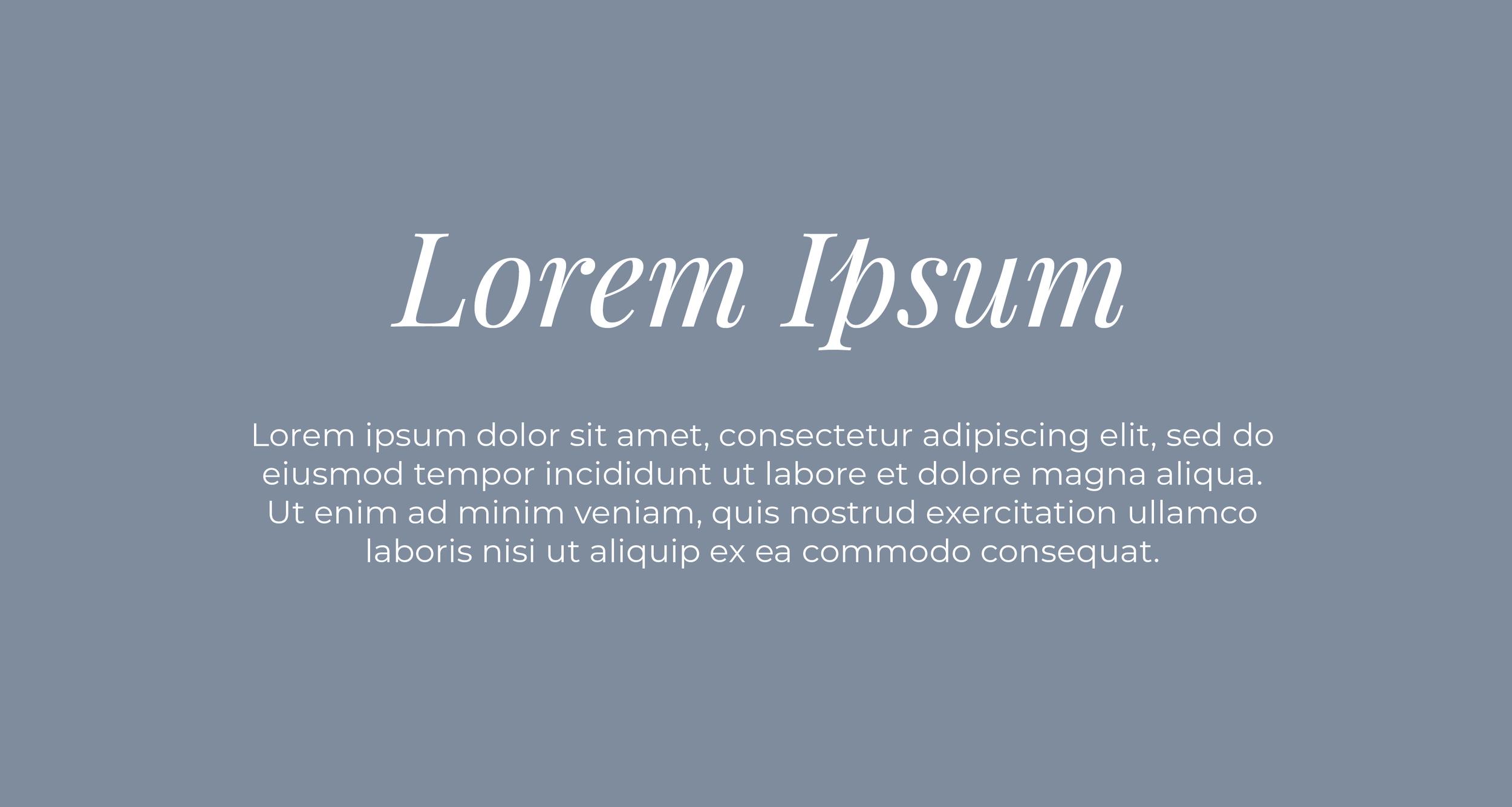 Playfair Display Regular Italic (header) paired with Montserrat Regular.