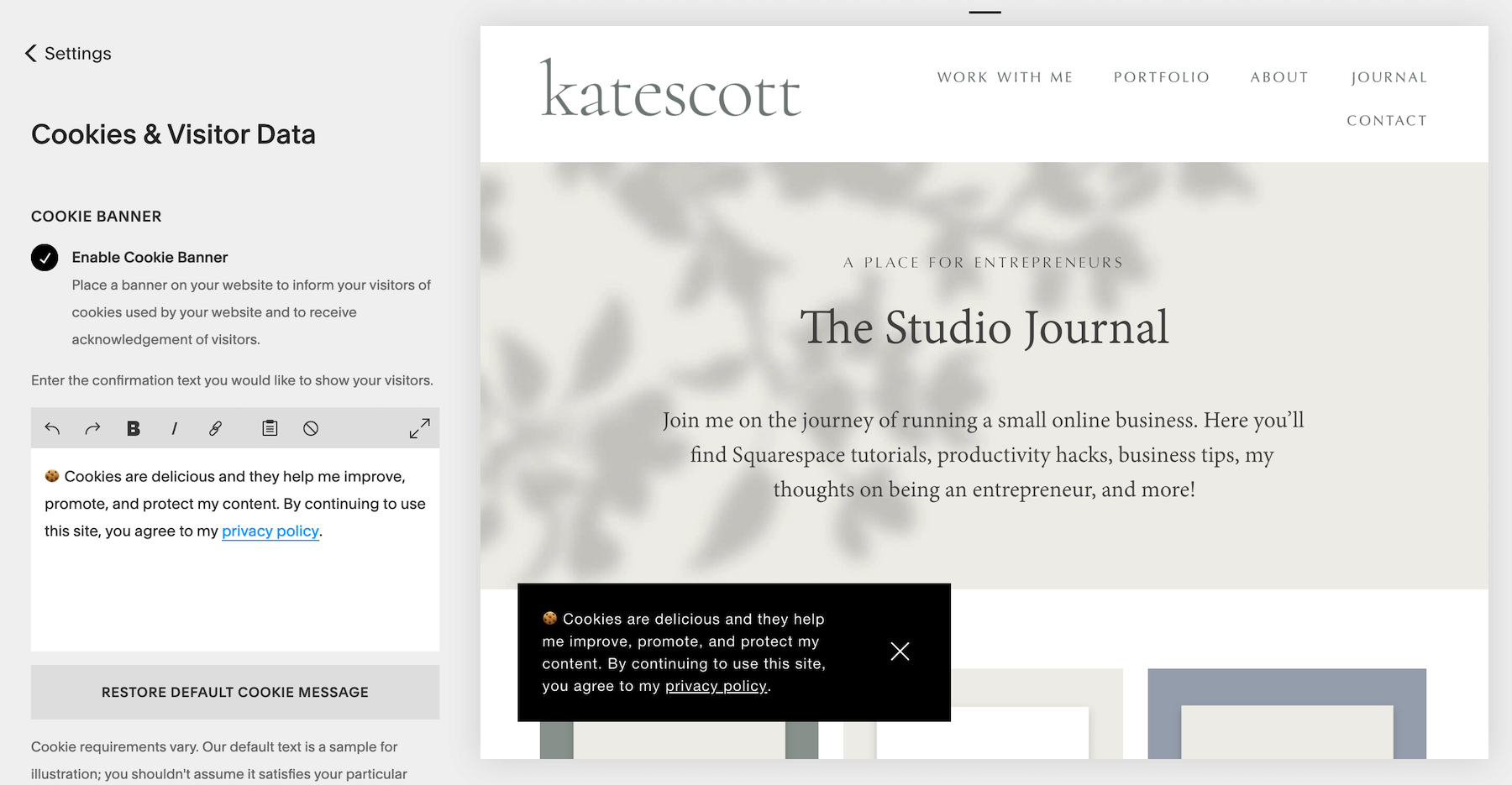 Squarespace Cookie Banner Settings - Enable Cookie Bar + Customize Text
