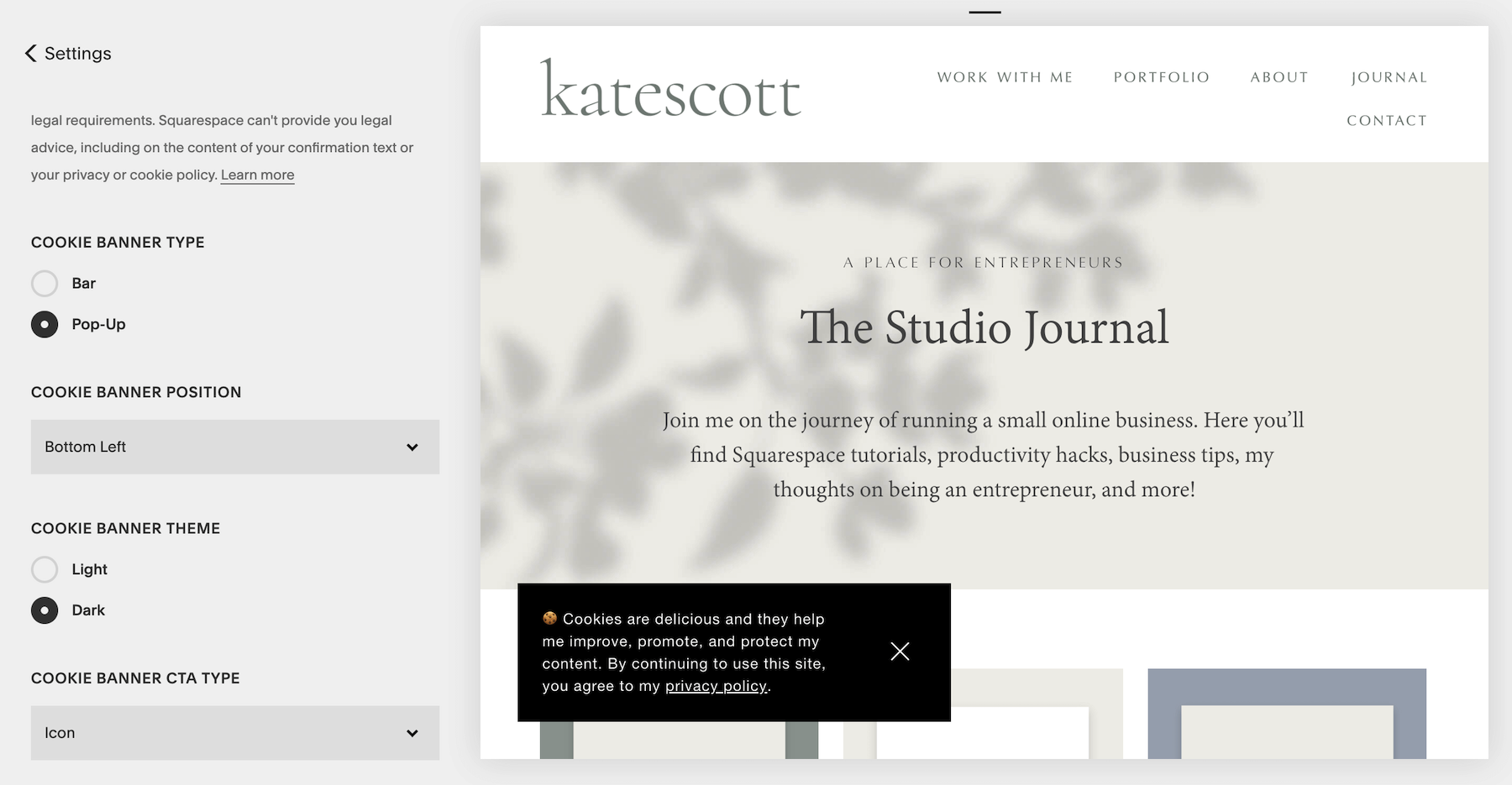 Squarespace Cookie Banner Settings - Cookie Banner Type, Position, Banner Theme, and CTA Type