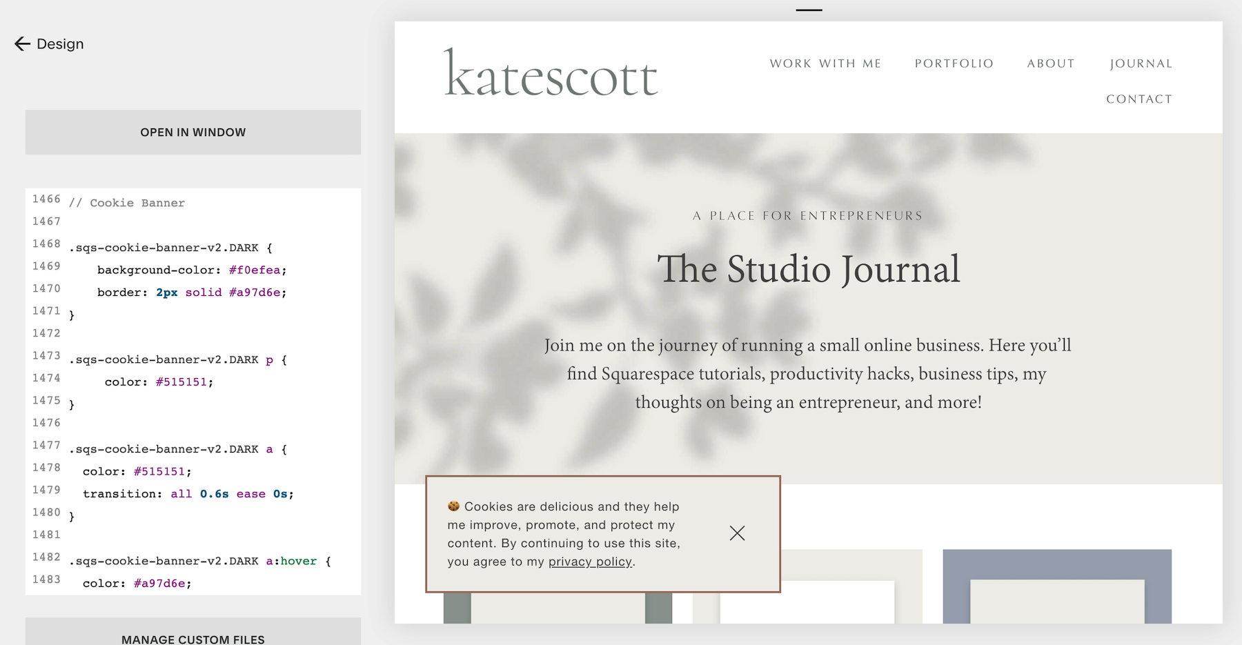 Squarespace Cookie Banner Custom CSS