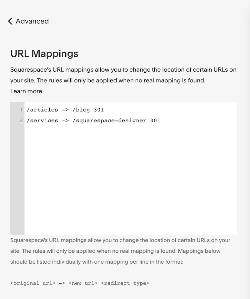 Squarespace URL Mapping Panel