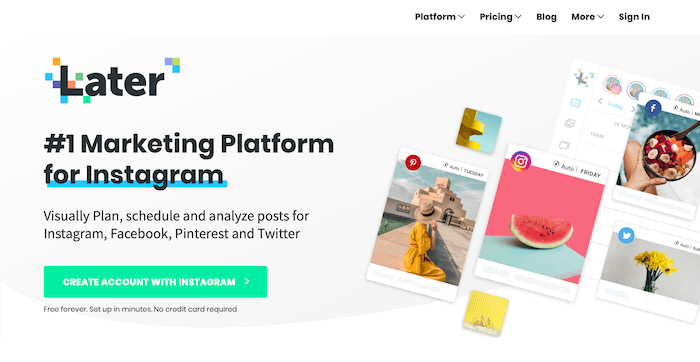Later Instagram Scheduling Homepage