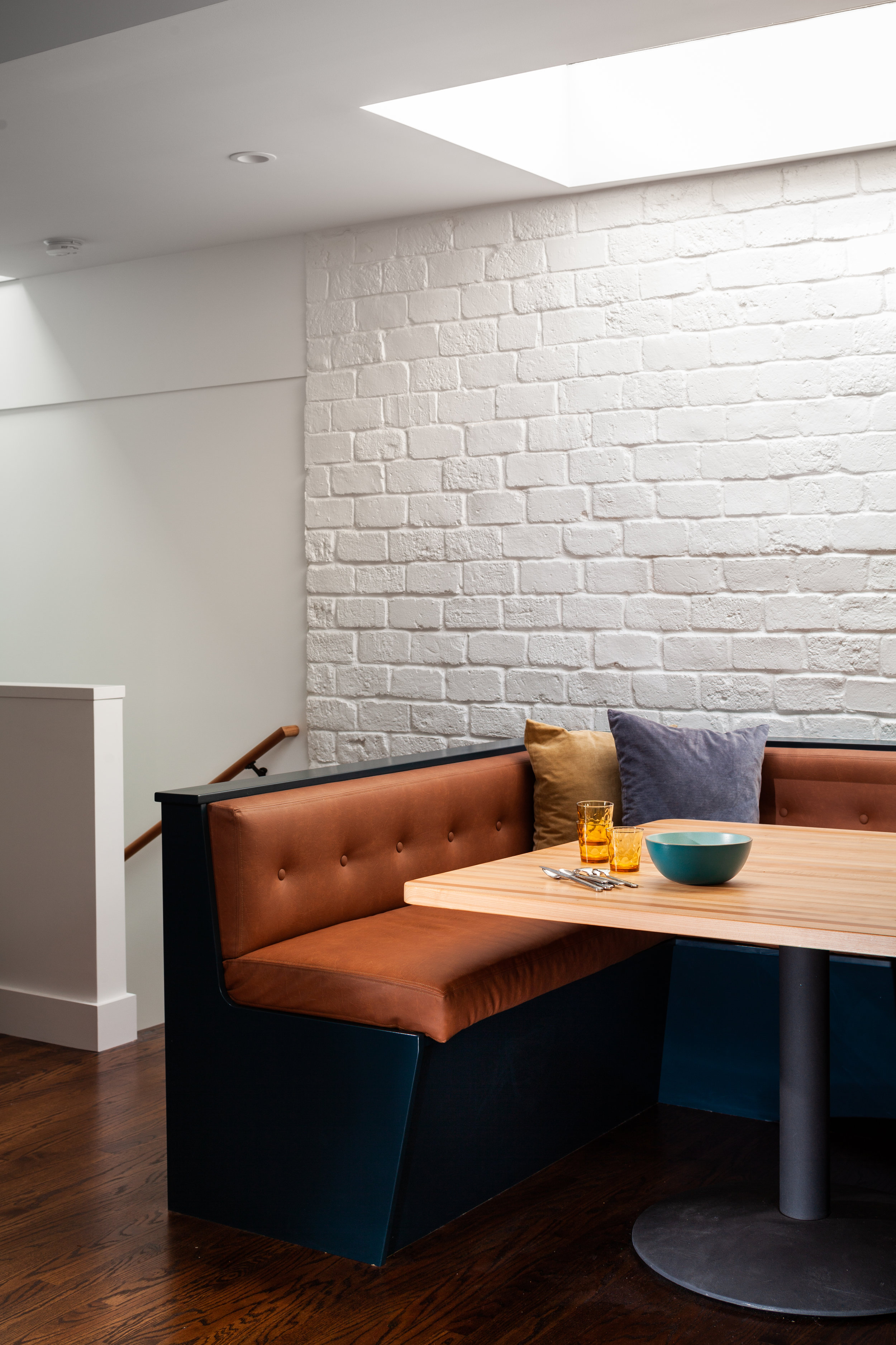 Banquette seating area.
