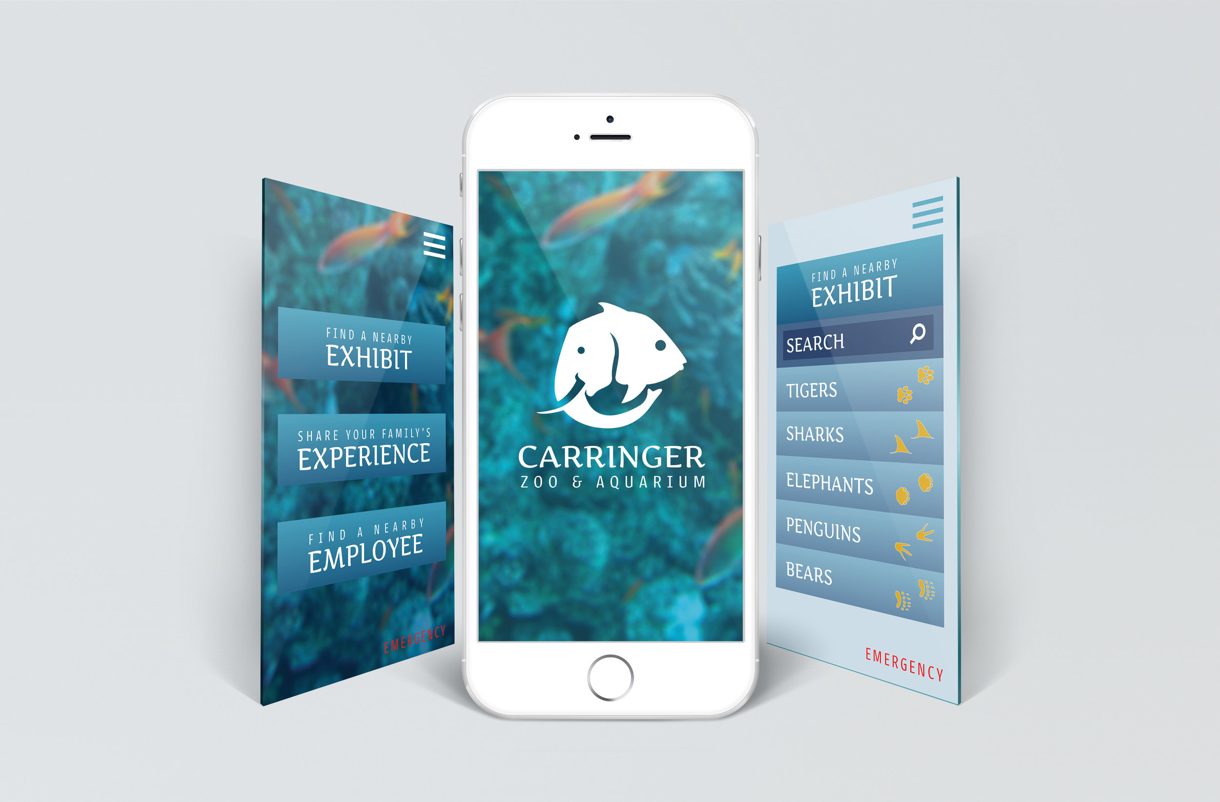 Carringer Zoo and Aquarium app to help visitors find specific attractions and report emergencies to the nearest employee.