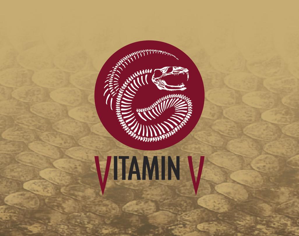 Vitamin V brand logo- derived from hand-carved linoleum block print.