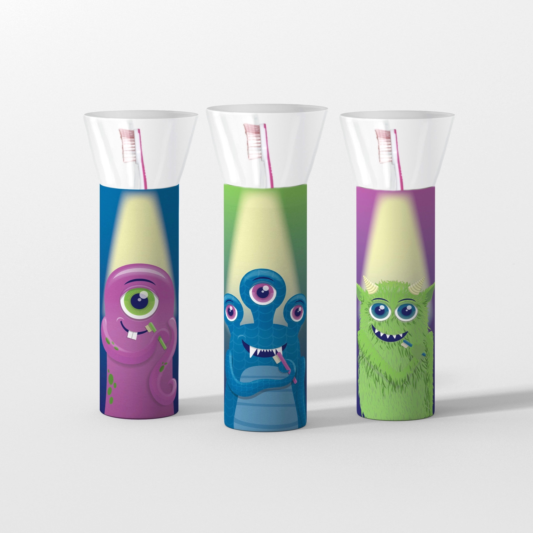 Flashlight shaped packaging design, featuring transparent tops and bottoms.