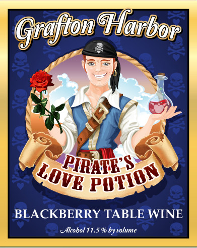 Pirate's Love Potion - Blackberry Table WineHearty Blackberries and Bouquets Devine, Shall turn Your Love into Mine All Mine!Blend and Awaken the Powers of Old, For a Pirates' Love is More Precious than Gold!