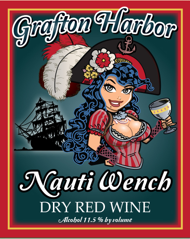 Nauti Wench - Dry Red WineOur Nauti Wench is a dry Norton and Chambourcin blend with a hint of raspberry and cherry. Its cool long fermentation produces a wine that boasts of a crisp freshness. Your Nauti Wench will have you walkin' the plank ye matey if you don't stock this in her wine cellar!