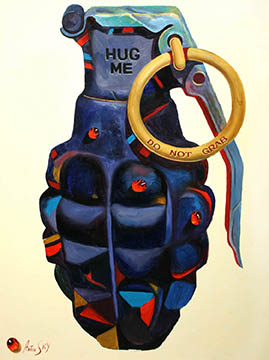 Grenade (Hug Me), 2008, Oil on canvas, 40 x 30 in., UIMA Permanent Collection