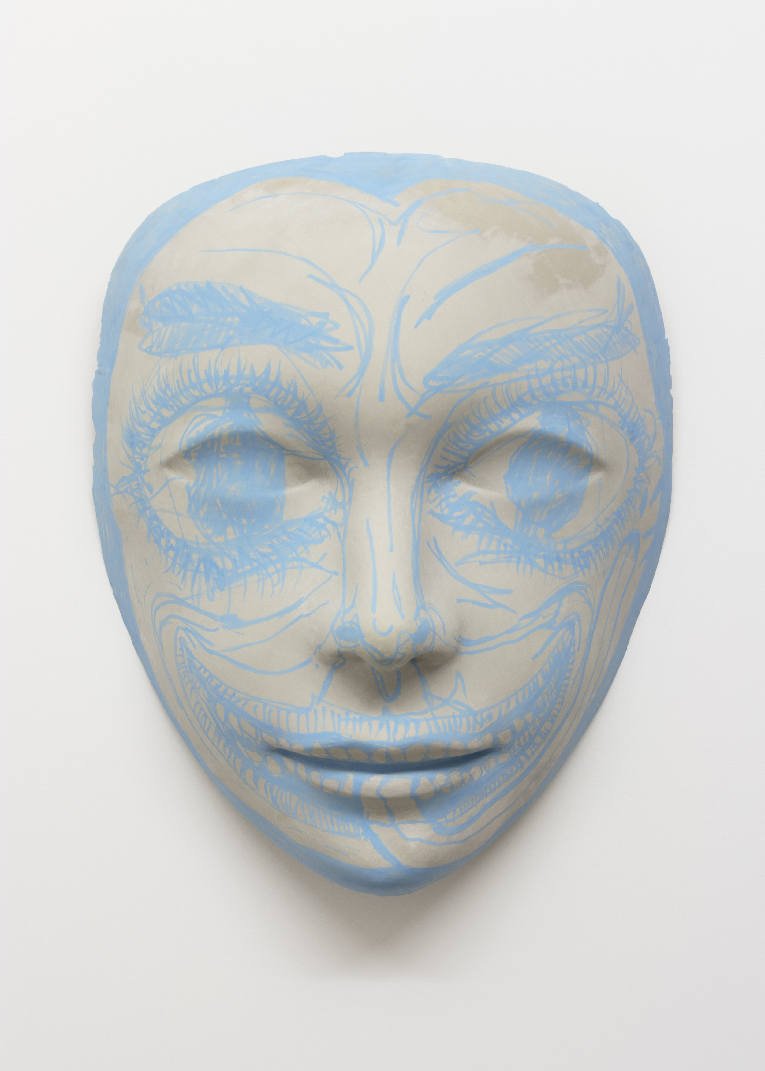 "Chloe Seibert,  Mask 3 , Urethane plastic, fiberglass, acrylic paint, 42 x 33 x 17"", 2019"