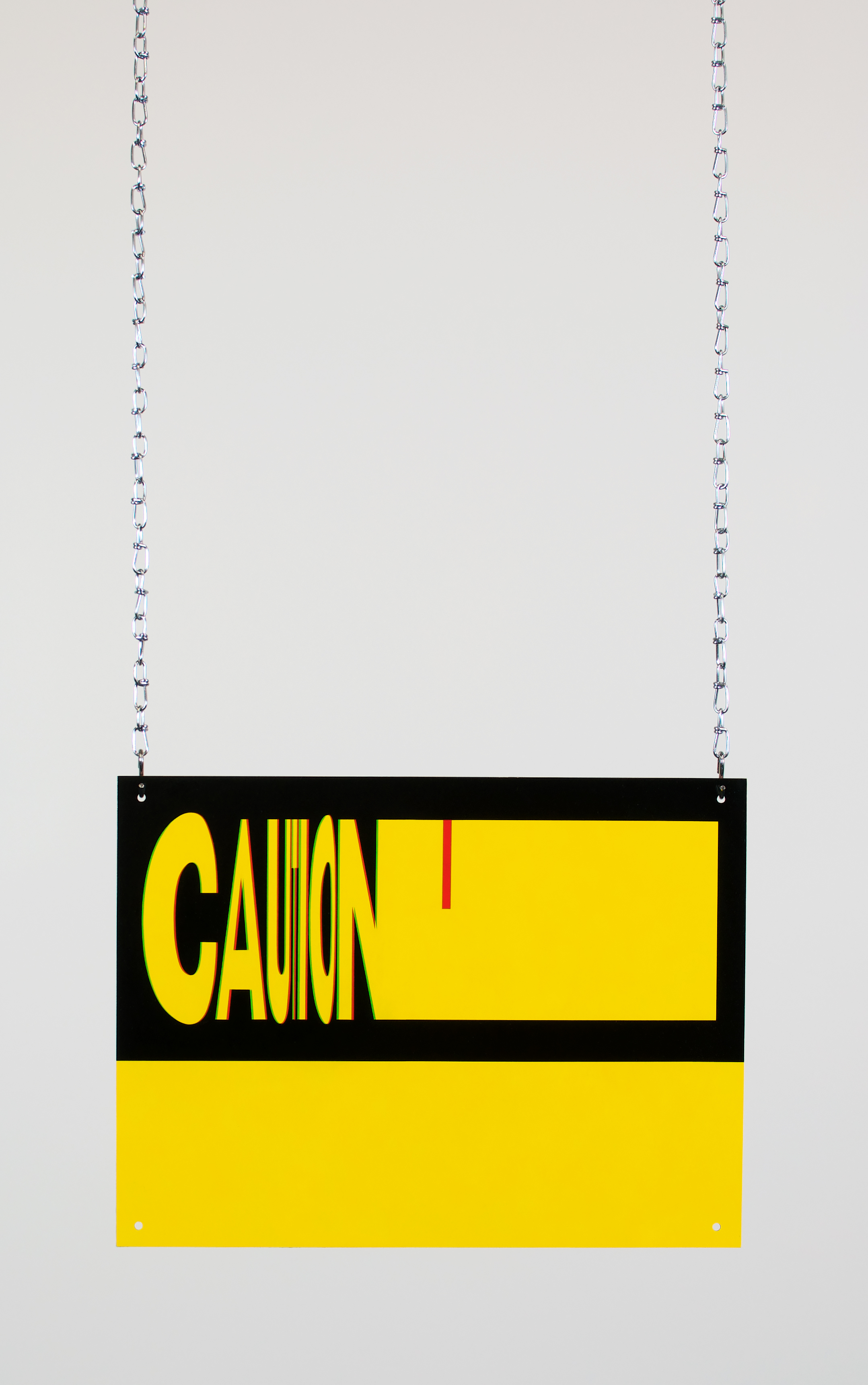 Anthony Adcock,  Untitled (Caution) , 2018, Oil on copper, chains, 12 x 16""