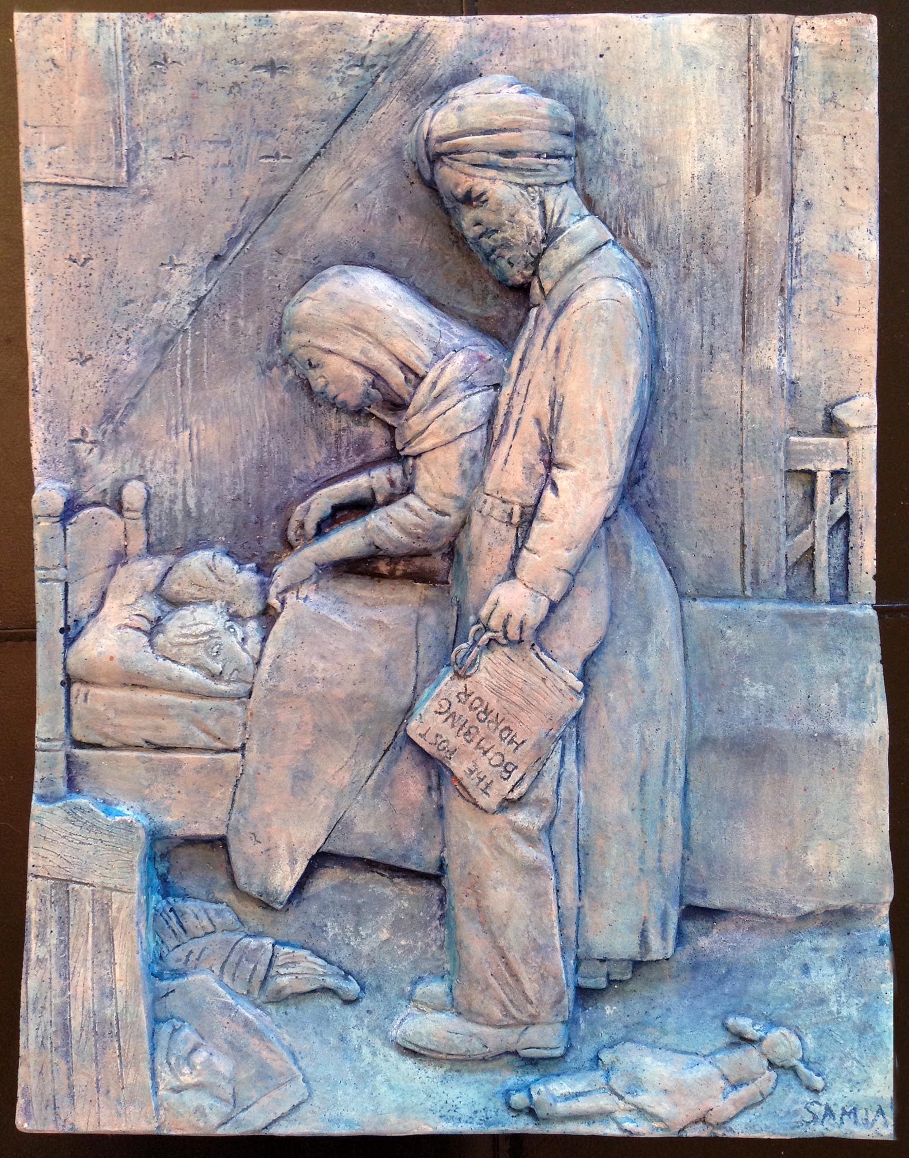 """""""Freedom From Fear- (A Tribute to Norman Rockwell)""""  11""""x14""""x2"""" Hydrocal Plaster, and Fiberglass"""