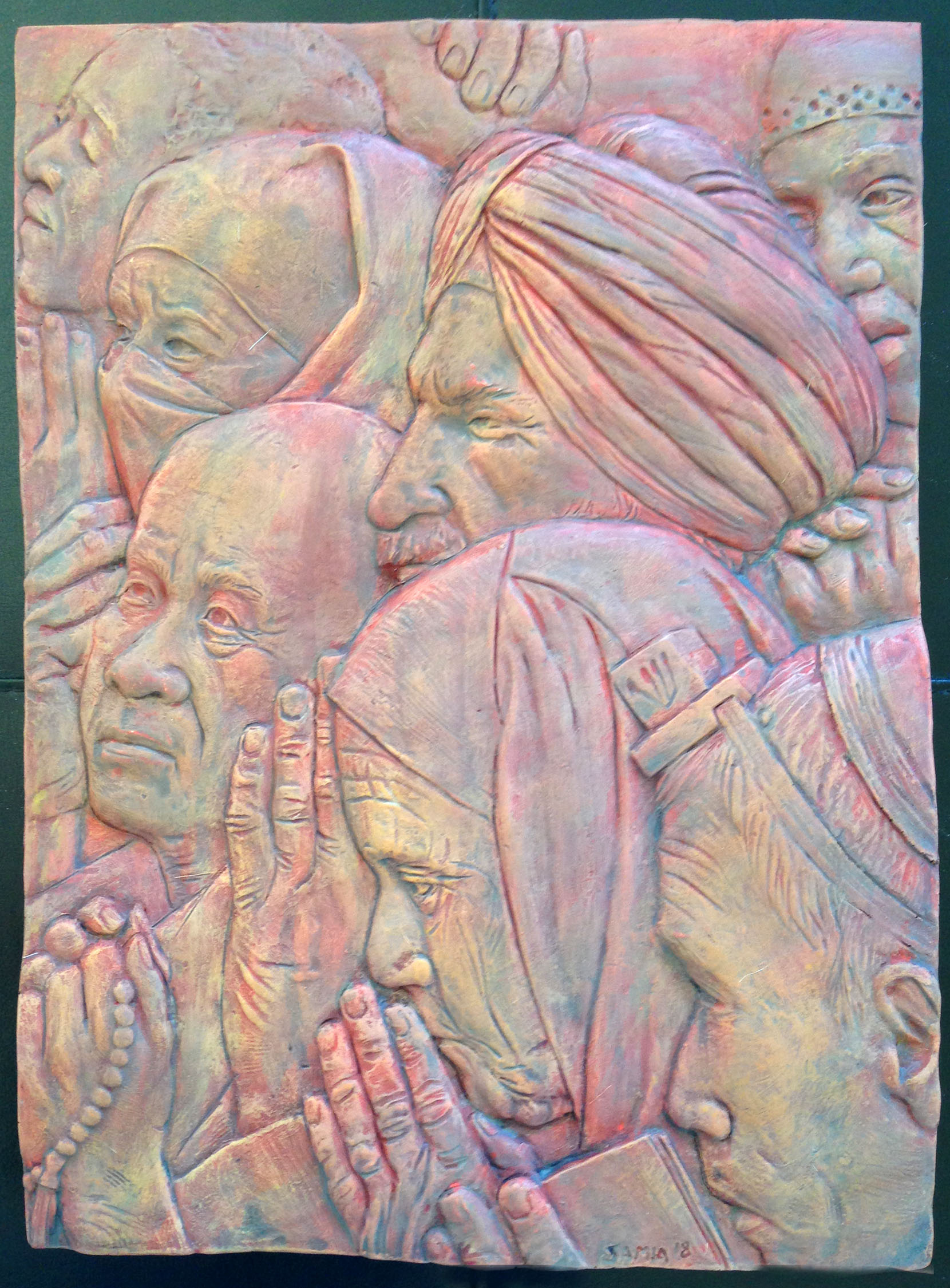 """""""Freedom of Religion- (A Tribute to Norman Rockwell)""""  11""""x14""""x2"""" Hydrocal Plaster, and Fiberglass"""